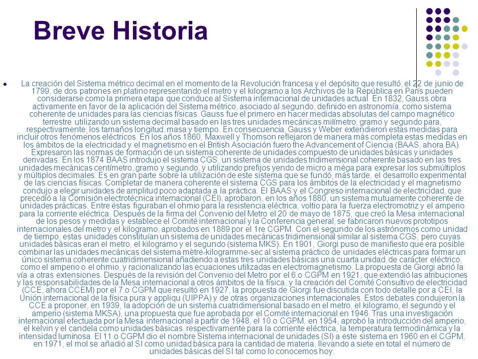 Breve Historia La creación del Sistema métrico decimal en el momento de la Revolución francesa y el depósito que resultó, el 22 de junio de 1799, de d