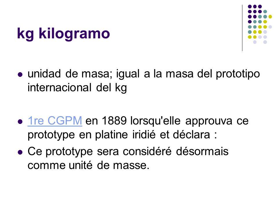 kg kilogramo unidad de masa; igual a la masa del prototipo internacional del kg 1re CGPM en 1889 lorsqu'elle approuva ce prototype en platine iridié e
