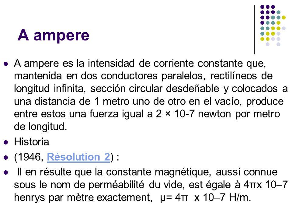 A ampere A ampere es la intensidad de corriente constante que, mantenida en dos conductores paralelos, rectilíneos de longitud infinita, sección circu