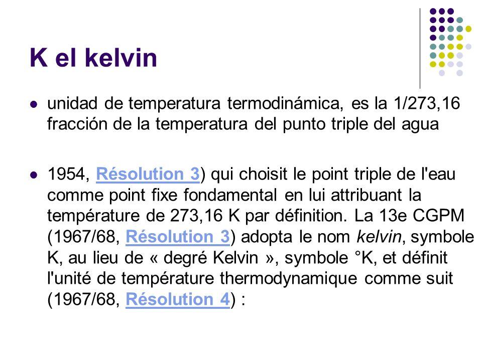 K el kelvin unidad de temperatura termodinámica, es la 1/273,16 fracción de la temperatura del punto triple del agua 1954, Résolution 3) qui choisit l
