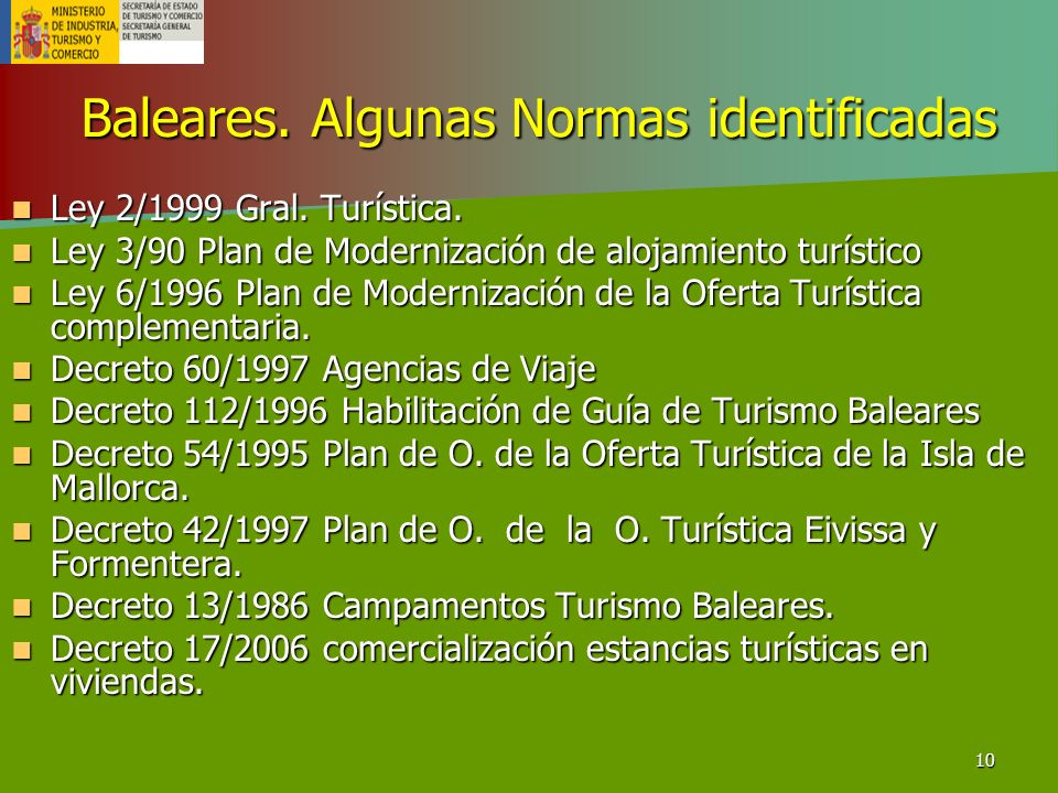 10 Baleares. Algunas Normas identificadas Ley 2/1999 Gral. Turística. Ley 2/1999 Gral. Turística. Ley 3/90 Plan de Modernización de alojamiento turíst
