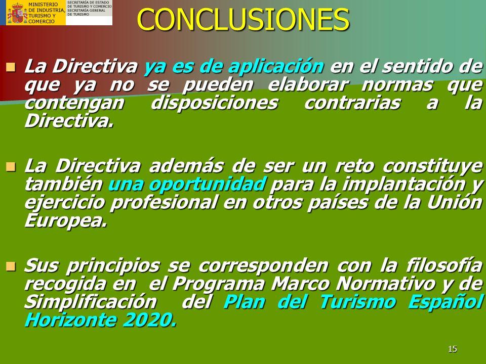 15CONCLUSIONES La Directiva ya es de aplicación en el sentido de que ya no se pueden elaborar normas que contengan disposiciones contrarias a la Direc