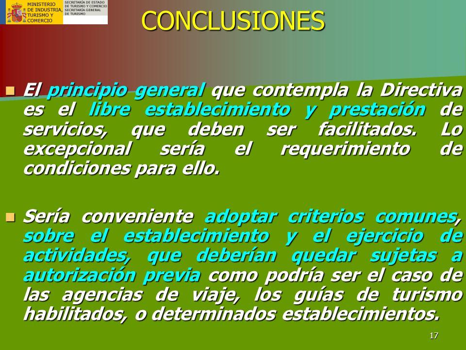 17CONCLUSIONES El principio general que contempla la Directiva es el libre establecimiento y prestación de servicios, que deben ser facilitados. Lo ex
