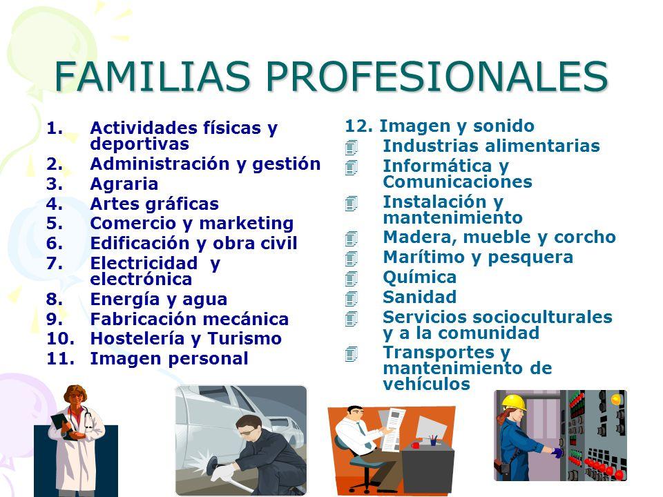FAMILIAS PROFESIONALES 1.Actividades físicas y deportivas 2.Administración y gestión 3.Agraria 4.Artes gráficas 5.Comercio y marketing 6.Edificación y