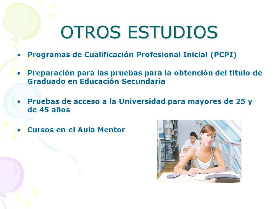OTROS ESTUDIOS Programas de Cualificación Profesional Inicial (PCPI) Preparación para las pruebas para la obtención del título de Graduado en Educació