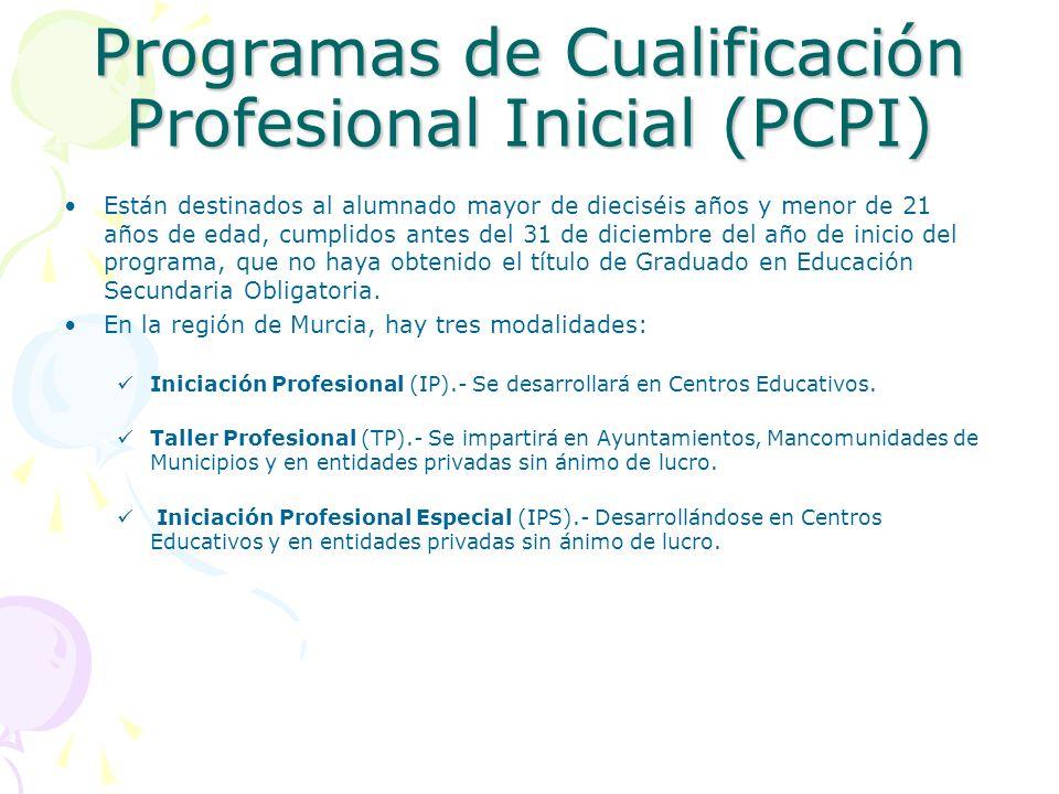 Programas de Cualificación Profesional Inicial (PCPI) Están destinados al alumnado mayor de dieciséis años y menor de 21 años de edad, cumplidos antes