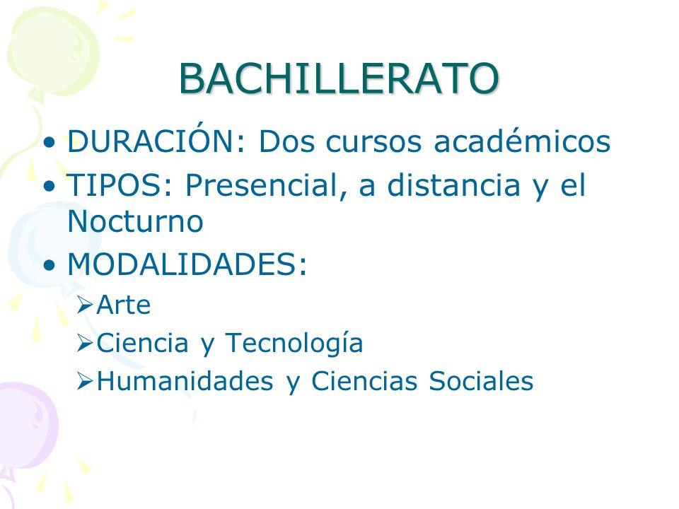 BACHILLERATO DURACIÓN: Dos cursos académicos TIPOS: Presencial, a distancia y el Nocturno MODALIDADES: Arte Ciencia y Tecnología Humanidades y Ciencia