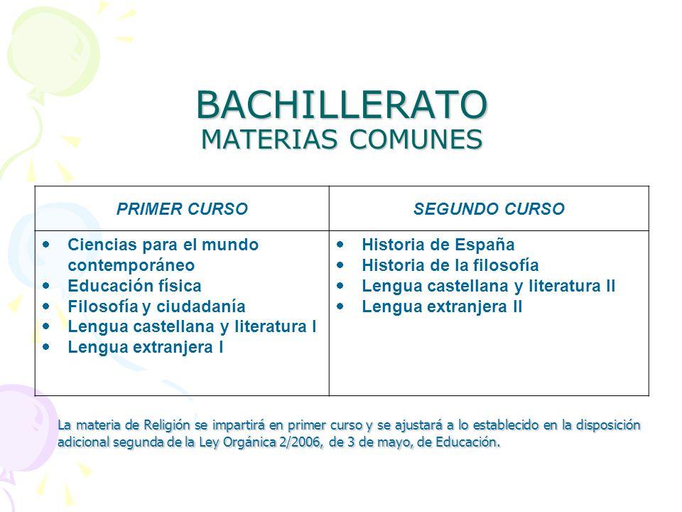 BACHILLERATO MATERIAS COMUNES PRIMER CURSOSEGUNDO CURSO Ciencias para el mundo contemporáneo Educación física Filosofía y ciudadanía Lengua castellana