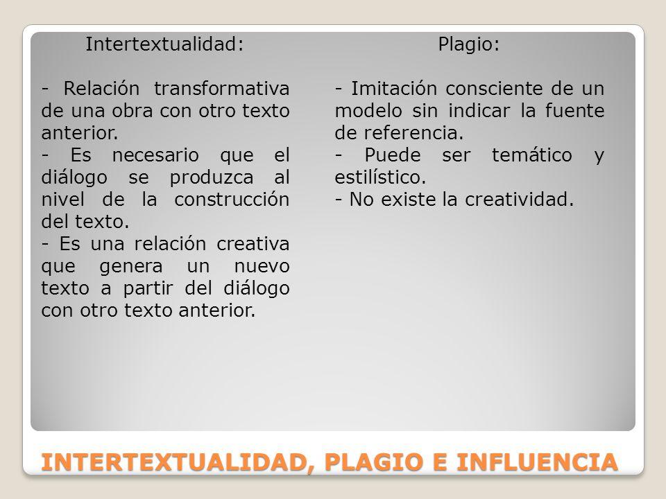INTERTEXTUALIDAD, PLAGIO E INFLUENCIA Intertextualidad: - Relación transformativa de una obra con otro texto anterior. - Es necesario que el diálogo s
