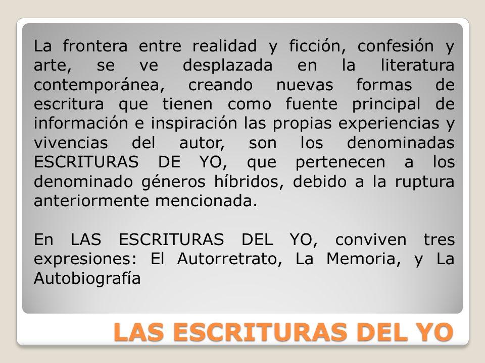 LAS ESCRITURAS DEL YO La frontera entre realidad y ficción, confesión y arte, se ve desplazada en la literatura contemporánea, creando nuevas formas d