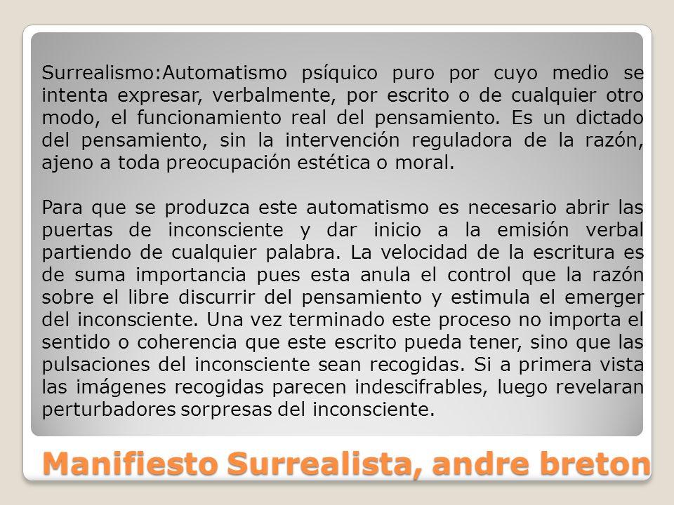 Manifiesto Surrealista, andre breton Surrealismo:Automatismo psíquico puro por cuyo medio se intenta expresar, verbalmente, por escrito o de cualquier
