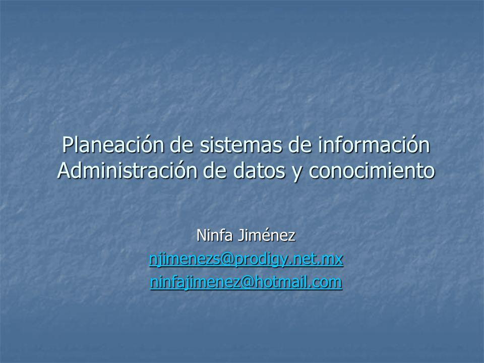 Planeación de sistemas de información Administración de datos y conocimiento Ninfa Jiménez njimenezs@prodigy.net.mx ninfajimenez@hotmail.com