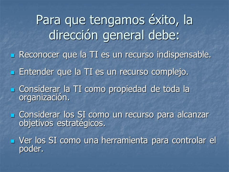 Para que tengamos éxito, la dirección general debe: Reconocer que la TI es un recurso indispensable. Reconocer que la TI es un recurso indispensable.