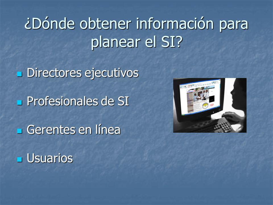 ¿Dónde obtener información para planear el SI? Directores ejecutivos Directores ejecutivos Profesionales de SI Profesionales de SI Gerentes en línea G