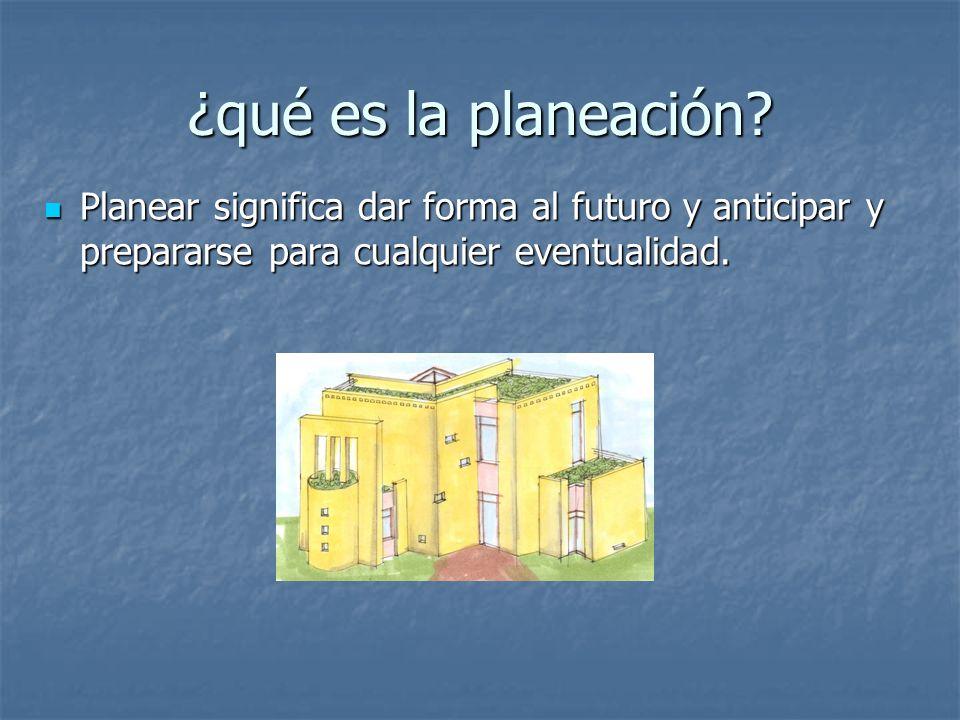 ¿qué es la planeación? Planear significa dar forma al futuro y anticipar y prepararse para cualquier eventualidad. Planear significa dar forma al futu