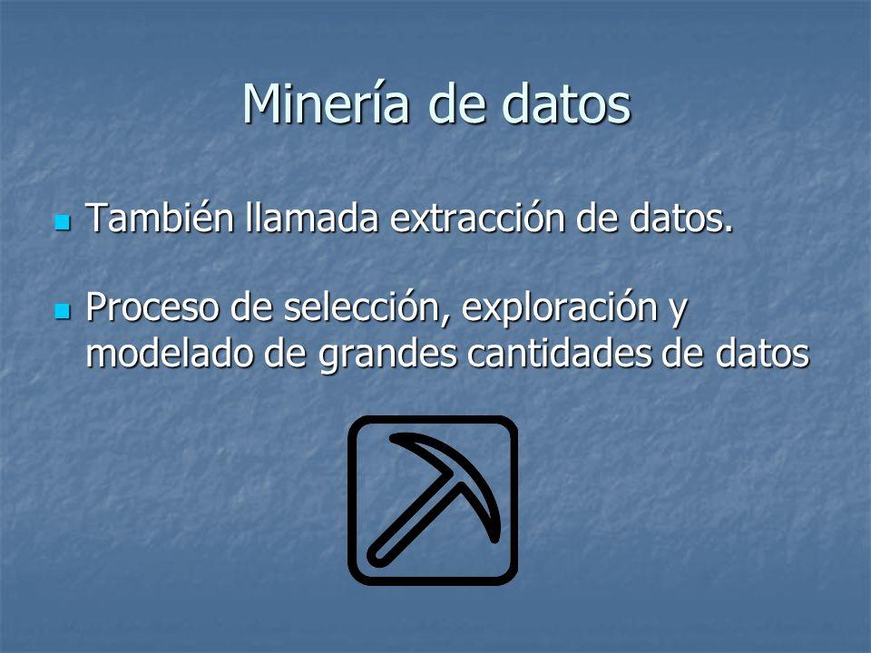 Minería de datos También llamada extracción de datos. También llamada extracción de datos. Proceso de selección, exploración y modelado de grandes can