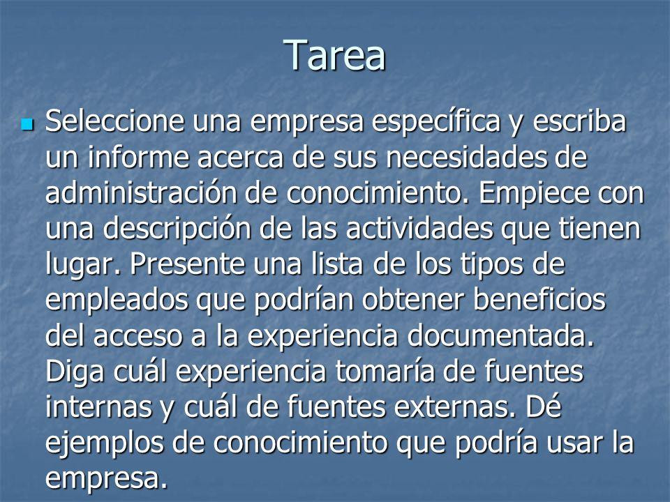 Tarea Seleccione una empresa específica y escriba un informe acerca de sus necesidades de administración de conocimiento. Empiece con una descripción