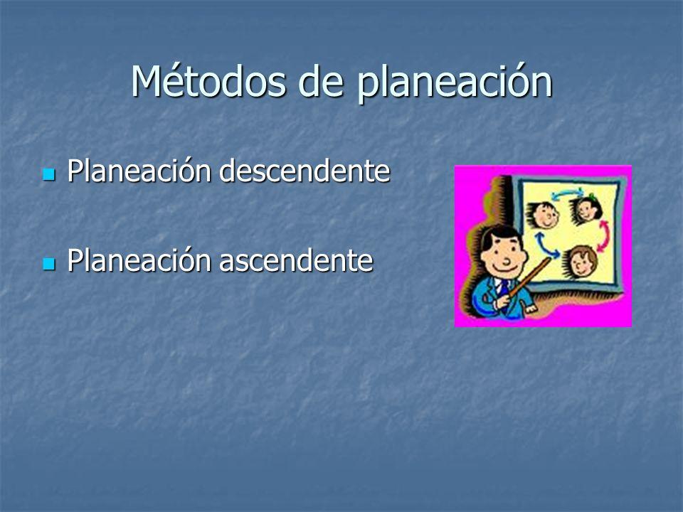 Métodos de planeación Planeación descendente Planeación descendente Planeación ascendente Planeación ascendente