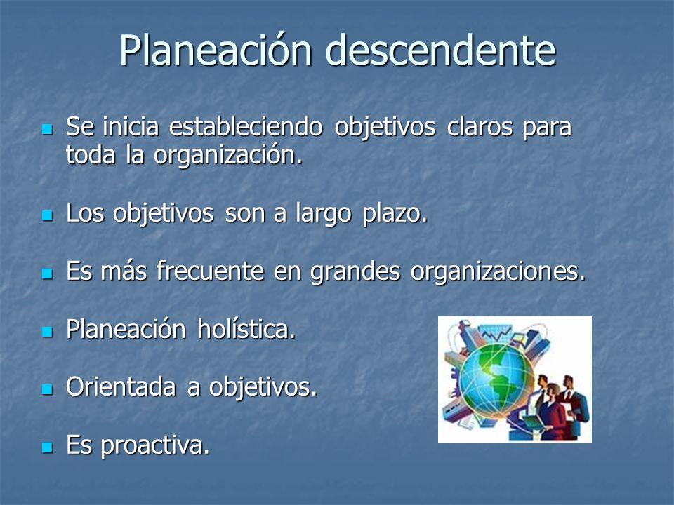 Planeación descendente Se inicia estableciendo objetivos claros para toda la organización. Se inicia estableciendo objetivos claros para toda la organ