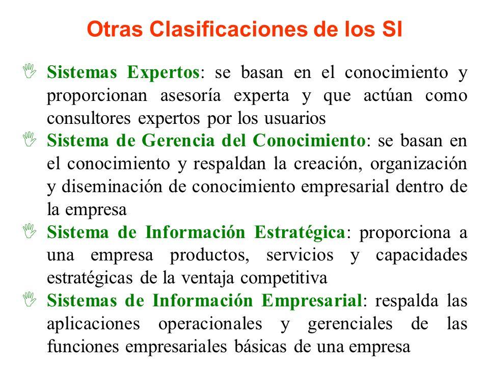 Otras Clasificaciones de los SI Sistemas Expertos: se basan en el conocimiento y proporcionan asesoría experta y que actúan como consultores expertos