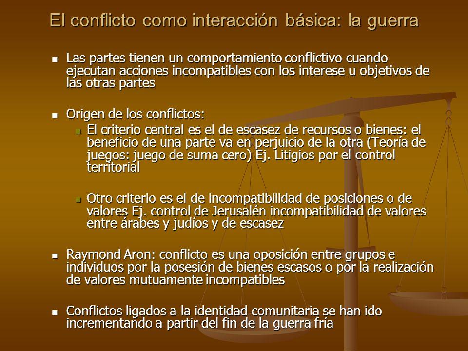 El conflicto como interacción básica: la guerra Las partes tienen un comportamiento conflictivo cuando ejecutan acciones incompatibles con los interes