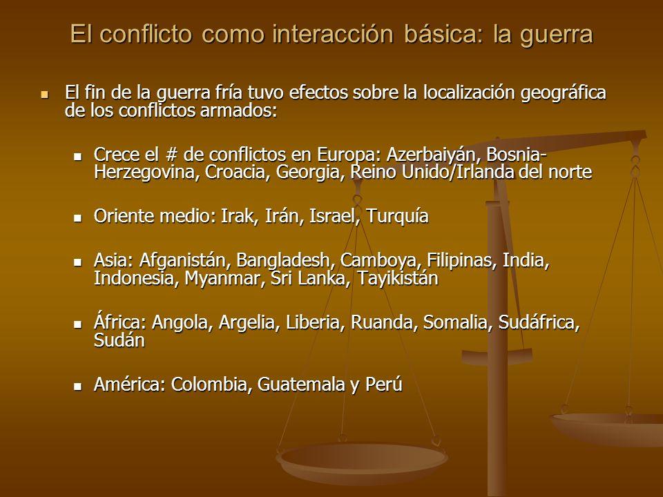 El conflicto como interacción básica: la guerra El fin de la guerra fría tuvo efectos sobre la localización geográfica de los conflictos armados: El f