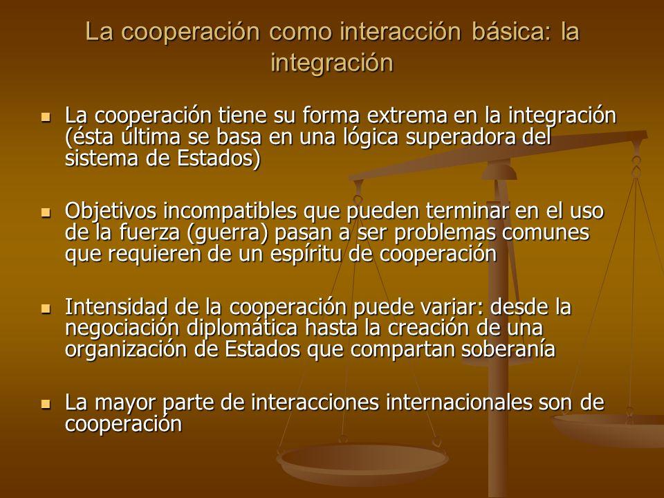 La cooperación como interacción básica: la integración La cooperación tiene su forma extrema en la integración (ésta última se basa en una lógica supe