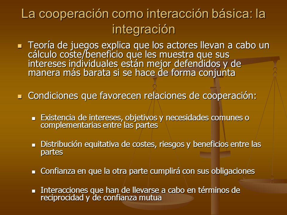 La cooperación como interacción básica: la integración Teoría de juegos explica que los actores llevan a cabo un cálculo coste/beneficio que les muest