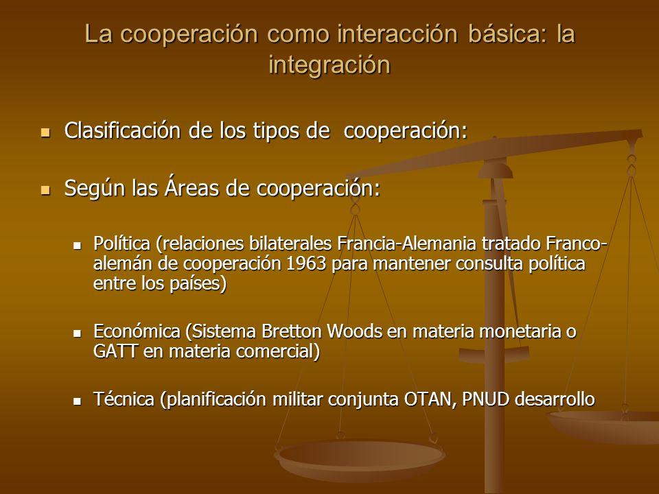 La cooperación como interacción básica: la integración Clasificación de los tipos de cooperación: Clasificación de los tipos de cooperación: Según las