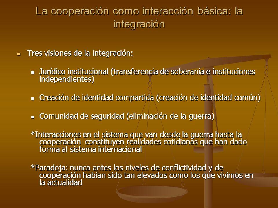 La cooperación como interacción básica: la integración Tres visiones de la integración: Tres visiones de la integración: Jurídico institucional (trans