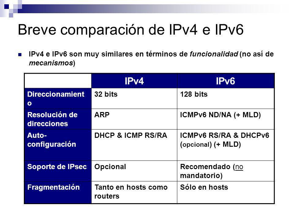 Breve comparación de IPv4 e IPv6 IPv4 e IPv6 son muy similares en términos de funcionalidad (no así de mecanismos) IPv4IPv6 Direccionamient o 32 bits1