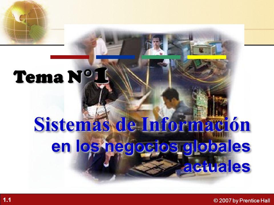 1.1 © 2007 by Prentice Hall Tema N° 1 Sistemas de Información en los negocios globales actuales