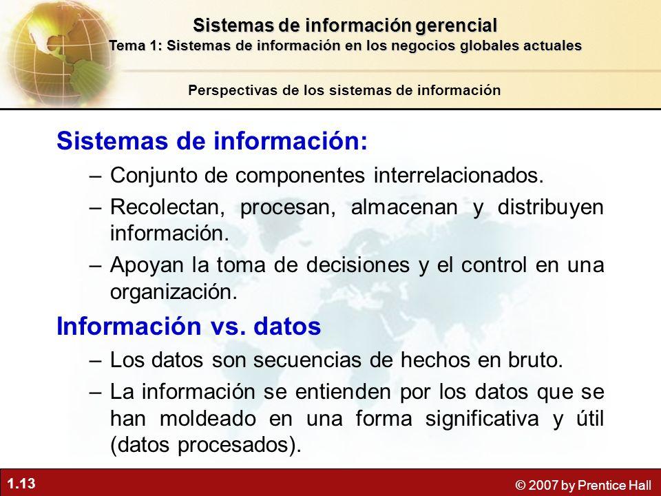 1.13 © 2007 by Prentice Hall Sistemas de información: –Conjunto de componentes interrelacionados. –Recolectan, procesan, almacenan y distribuyen infor