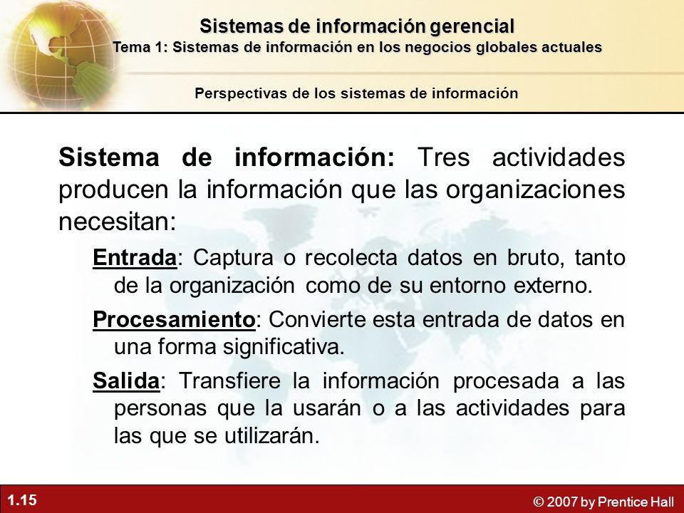 1.15 © 2007 by Prentice Hall Sistema de información: Tres actividades producen la información que las organizaciones necesitan: Entrada: Captura o rec