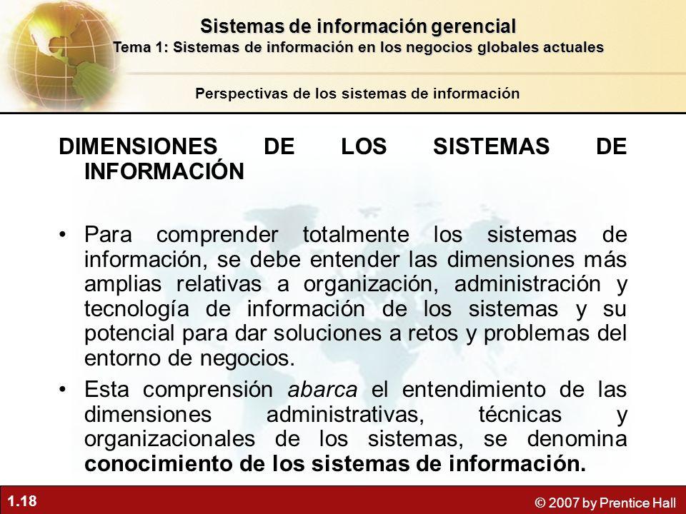 1.18 © 2007 by Prentice Hall Perspectivas de los sistemas de información Sistemas de información gerencial Tema 1: Sistemas de información en los nego