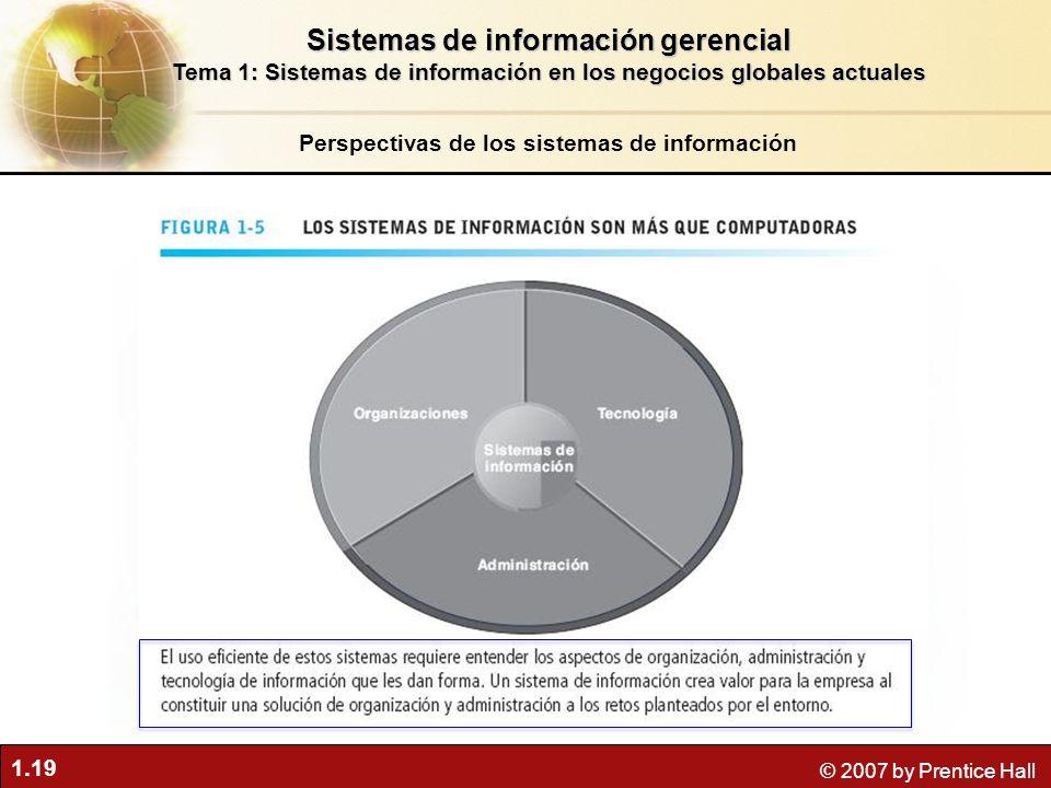 1.19 © 2007 by Prentice Hall Perspectivas de los sistemas de información Sistemas de información gerencial Tema 1: Sistemas de información en los nego