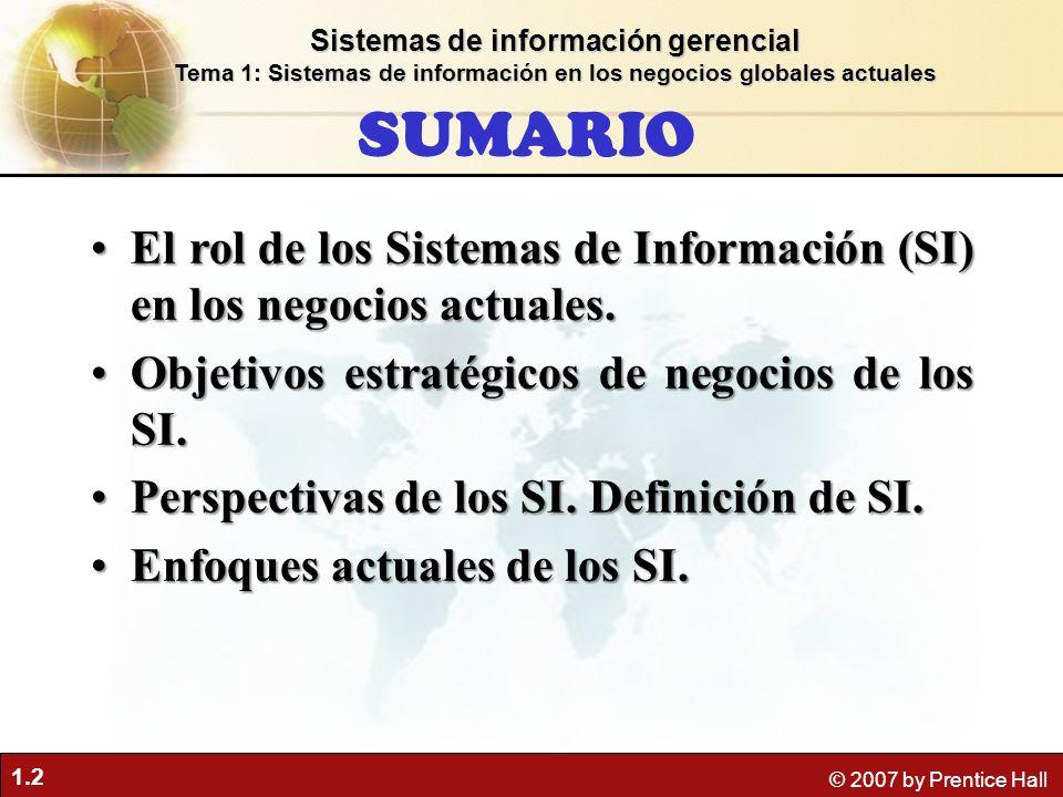 1.2 © 2007 by Prentice Hall SUMARIO El rol de los Sistemas de Información (SI) en los negocios actuales.El rol de los Sistemas de Información (SI) en