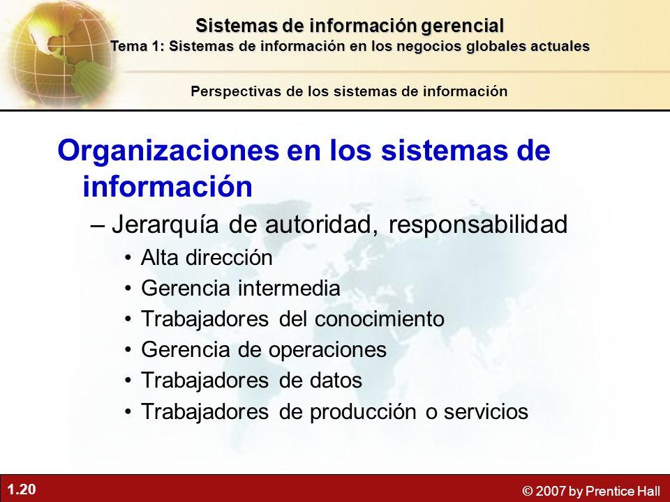 1.20 © 2007 by Prentice Hall Organizaciones en los sistemas de información –Jerarquía de autoridad, responsabilidad Alta dirección Gerencia intermedia