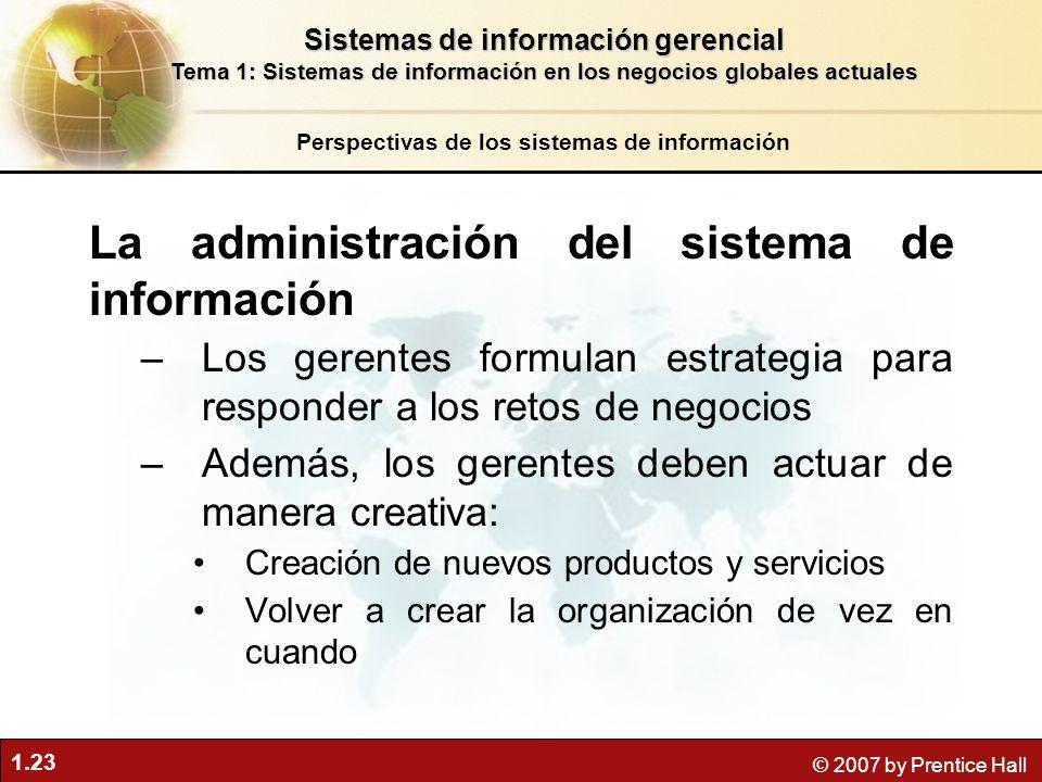 1.23 © 2007 by Prentice Hall La administración del sistema de información –Los gerentes formulan estrategia para responder a los retos de negocios –Ad