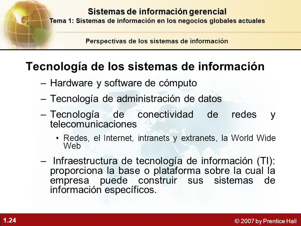 1.24 © 2007 by Prentice Hall Tecnología de los sistemas de información –Hardware y software de cómputo –Tecnología de administración de datos –Tecnolo