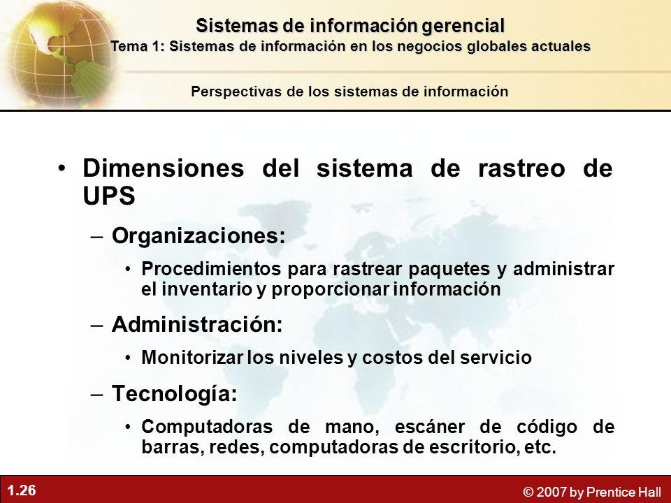 1.26 © 2007 by Prentice Hall Dimensiones del sistema de rastreo de UPS –Organizaciones: Procedimientos para rastrear paquetes y administrar el inventa