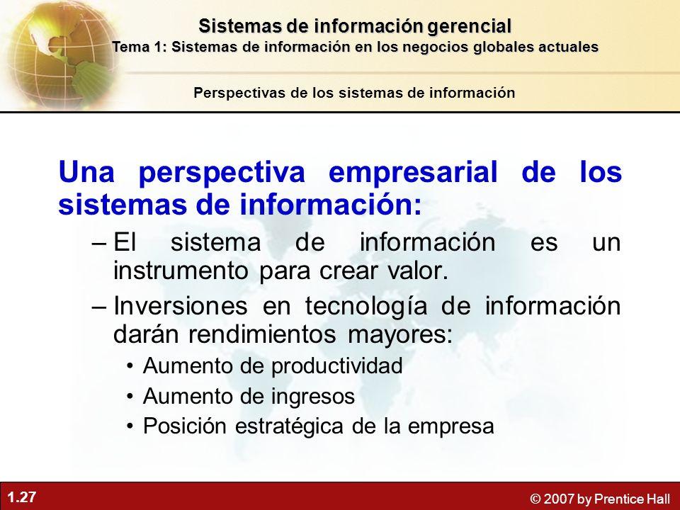 1.27 © 2007 by Prentice Hall Una perspectiva empresarial de los sistemas de información: –El sistema de información es un instrumento para crear valor