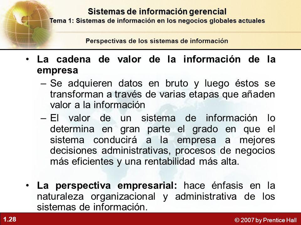 1.28 © 2007 by Prentice Hall La cadena de valor de la información de la empresa –Se adquieren datos en bruto y luego éstos se transforman a través de