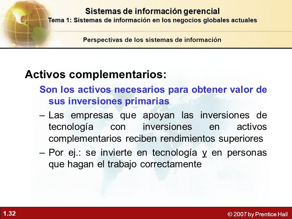 1.32 © 2007 by Prentice Hall Activos complementarios: Son los activos necesarios para obtener valor de sus inversiones primarias –Las empresas que apo