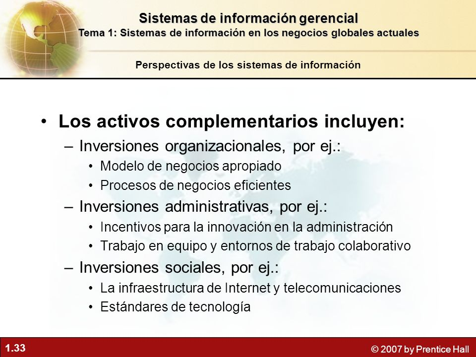 1.33 © 2007 by Prentice Hall Los activos complementarios incluyen: –Inversiones organizacionales, por ej.: Modelo de negocios apropiado Procesos de ne