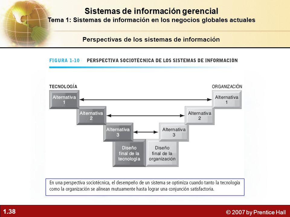 1.38 © 2007 by Prentice Hall Perspectivas de los sistemas de información Sistemas de información gerencial Tema 1: Sistemas de información en los nego