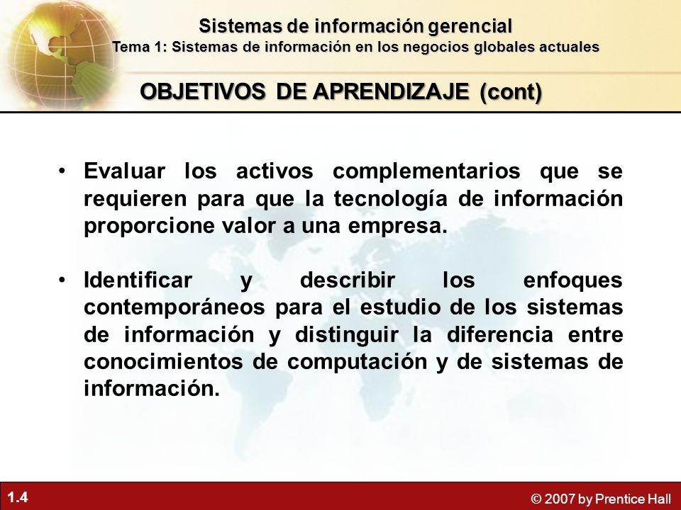 1.4 © 2007 by Prentice Hall Evaluar los activos complementarios que se requieren para que la tecnología de información proporcione valor a una empresa