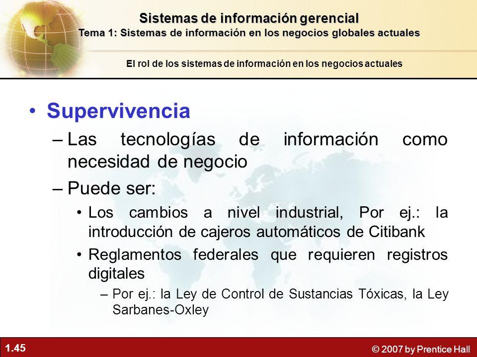 1.45 © 2007 by Prentice Hall Supervivencia –Las tecnologías de información como necesidad de negocio –Puede ser: Los cambios a nivel industrial, Por e