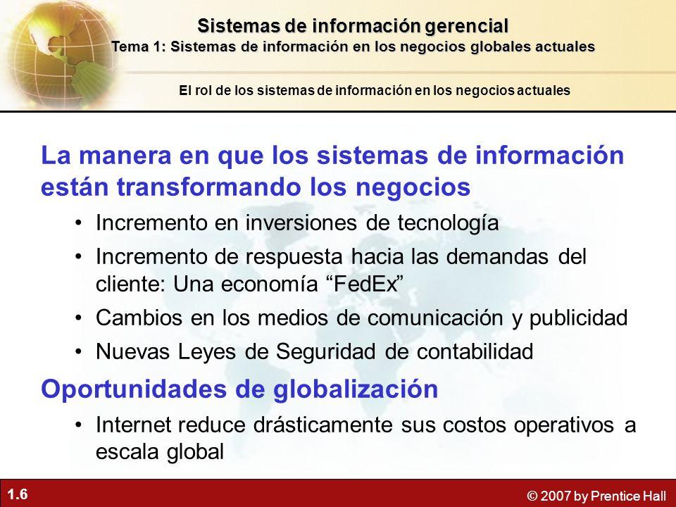1.6 © 2007 by Prentice Hall El rol de los sistemas de información en los negocios actuales La manera en que los sistemas de información están transfor