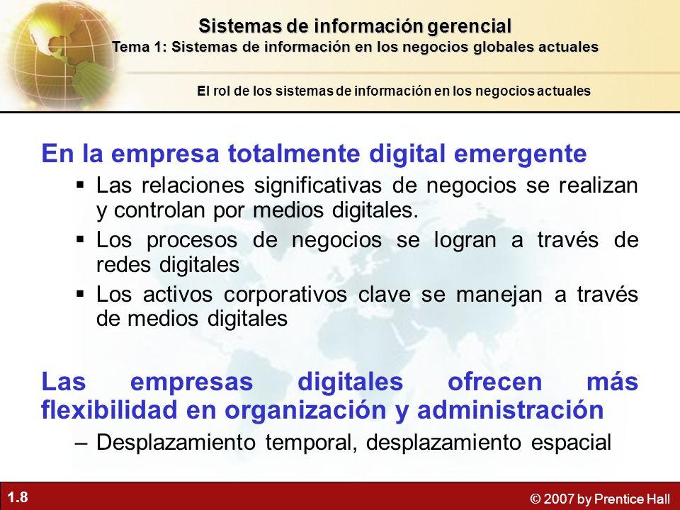 1.8 © 2007 by Prentice Hall En la empresa totalmente digital emergente Las relaciones significativas de negocios se realizan y controlan por medios di